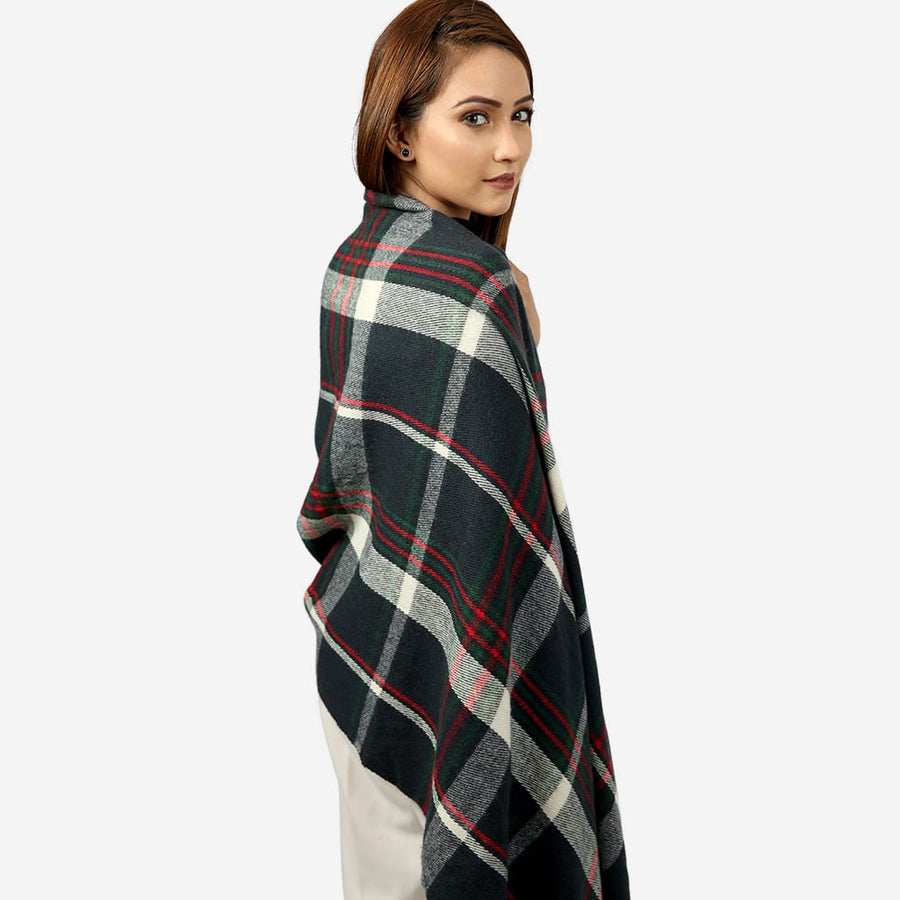 Checkered Button Woven Cape , VANILLA TOP