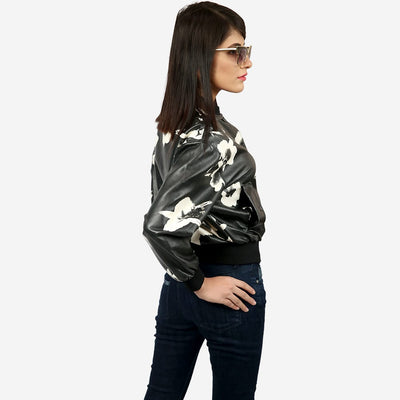 Printed Button Up Bomber Jacket , VANILLA TOP