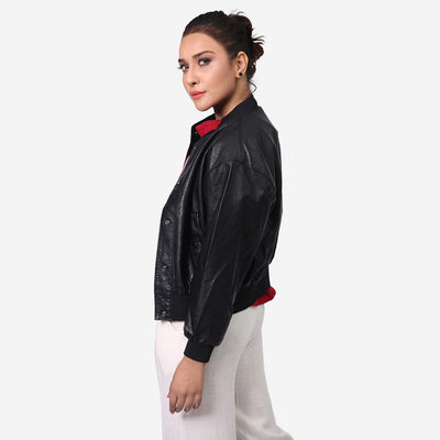 Button Up Leather Bomber Jacket , VANILLA TOP