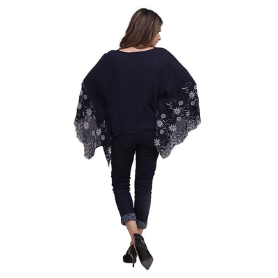 Embroidered Wing Top , VANILLA TOP