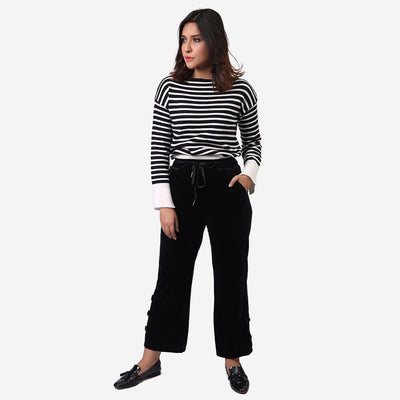 Button Hem Velvet Trousers , VANILLA TOP