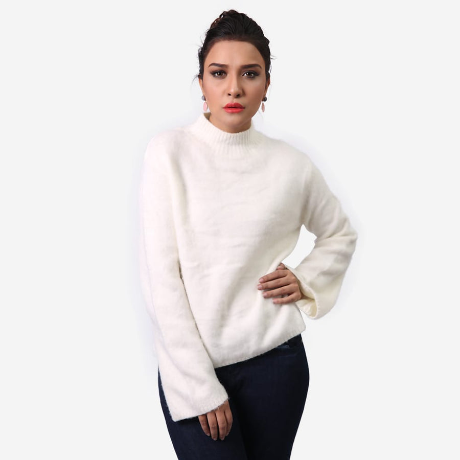 Polo Neck Cashmere Sweater , VANILLA TOP