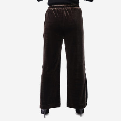 Slit Hem Velvet Trousers , VANILLA TOP