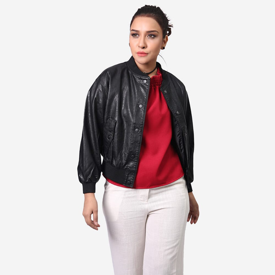 Button Up Leather Bomber Jacket