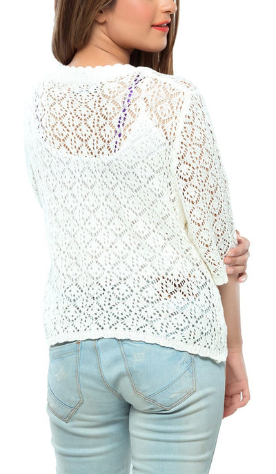 White Crochet Sweatshirt , VANILLA TOP