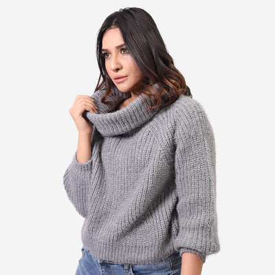 Knit Polo Neck Sweater , VANILLA TOP