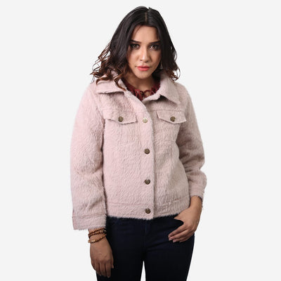 Faux Fur Button Up Coat , VANILLA TOP