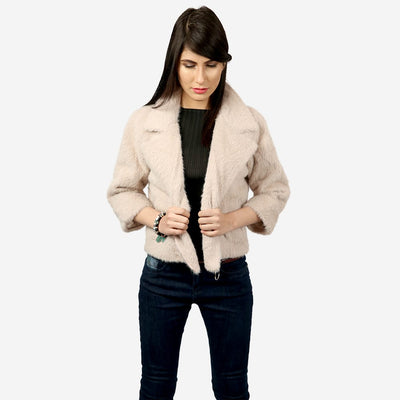 Faux Fur Zipped Coat , VANILLA TOP