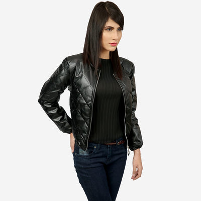Cross Leather Bomber Jacket , VANILLA TOP