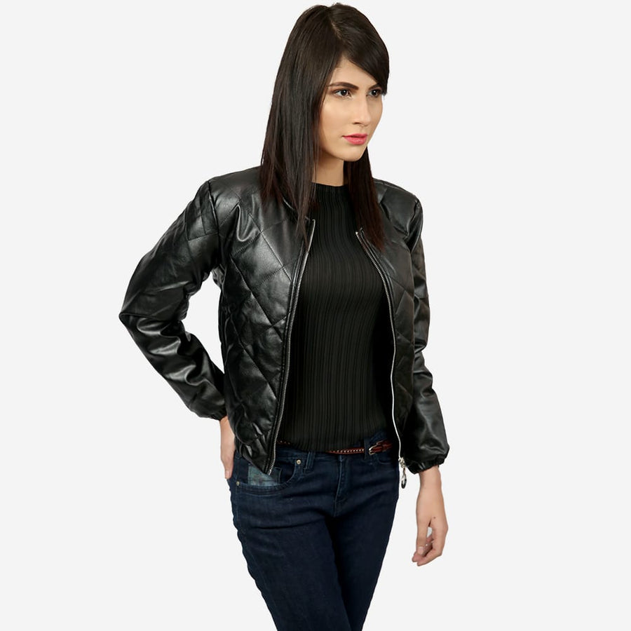 Cross Leather Bomber Jacket