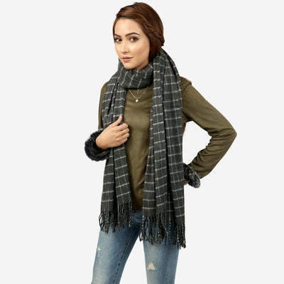 Square Check Scarf , VANILLA TOP