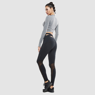 Waisted Cross Band Sport Leggings , VANILLA TOP