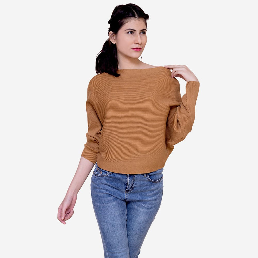 Drop Shoulder Knit Blouse