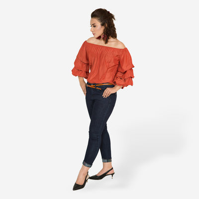 Off Shoulder Ruffle Top , VANILLA TOP