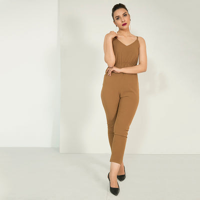 Cami Solid Jumpsuit , VANILLA TOP