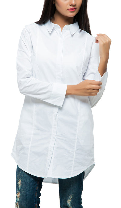 Long Collar Shirt , VANILLA TOP