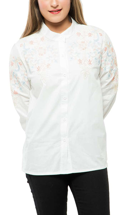 Classic Embroidered Shirt , VANILLA TOP
