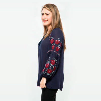 Embroidered Peasant Top , VANILLA TOP