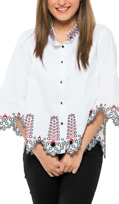 Embroidered Jewel Top , VANILLA TOP