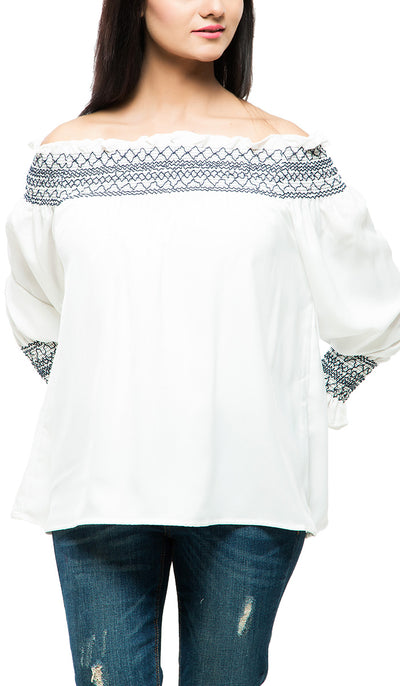 Smocked Off Shoulder Top , VANILLA TOP
