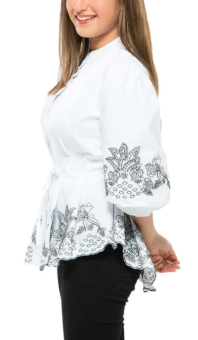 Embroidered Smocked Top , VANILLA TOP
