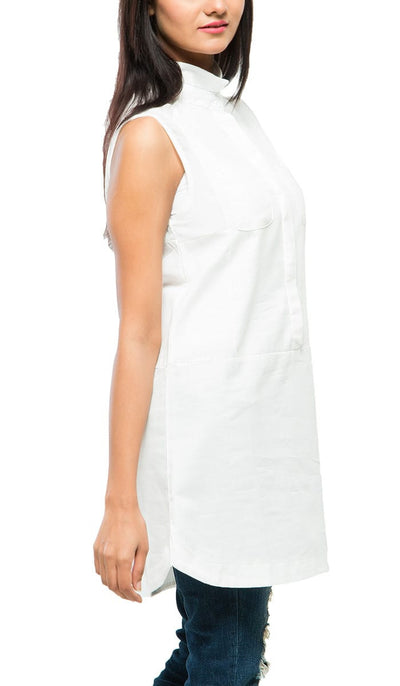Mist Shoulder Tunic , VANILLA TOP