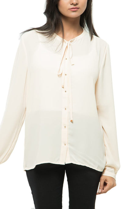 Classic Buttoned Down Top , VANILLA TOP