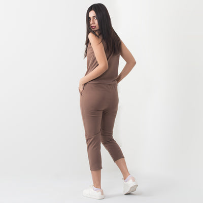 V Neck Two Piece Jumpsuit Set , VANILLA TOP
