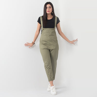 Button Up Classic Dungaree , VANILLA TOP