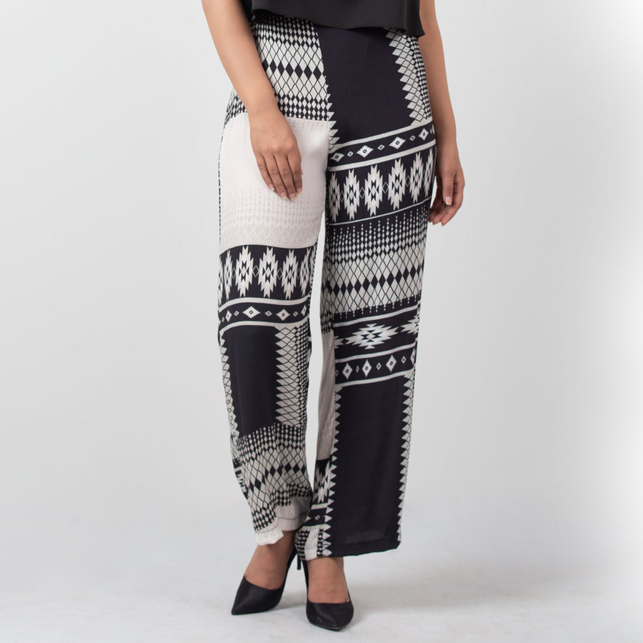 Abstract Printed Long Pants , VANILLA TOP