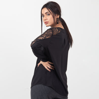 Laced Net Blouse , VANILLA TOP