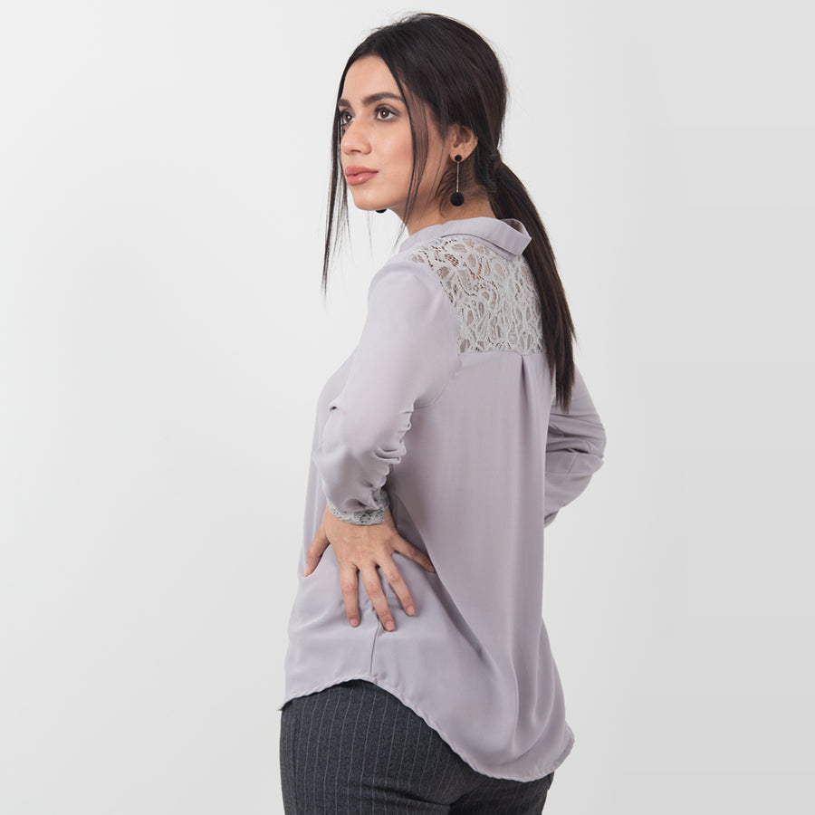 Butterfly Net Collar Blouse , VANILLA TOP