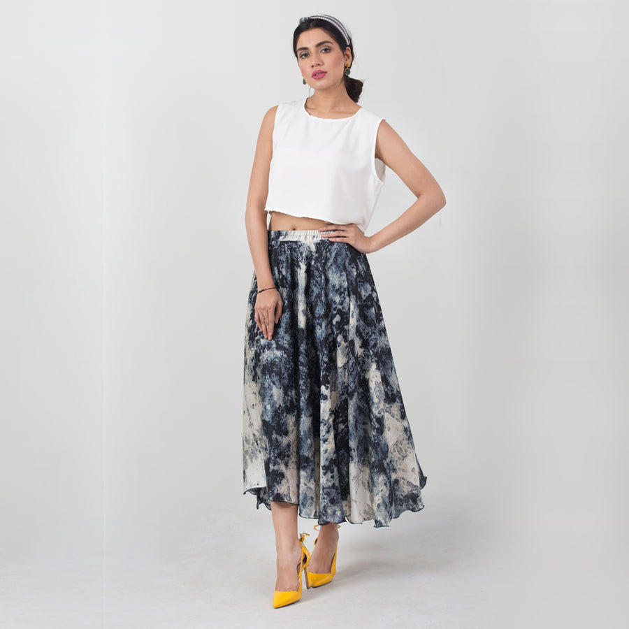 Aqua Printed Long Skirt , VANILLA TOP