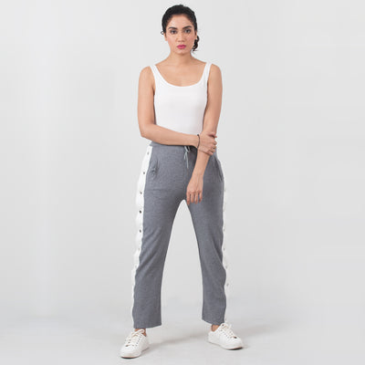 Snap Button Track Pants , VANILLA TOP
