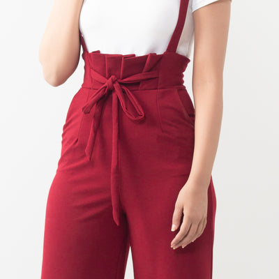 Knotted Two Piece Dungaree Set , VANILLA TOP