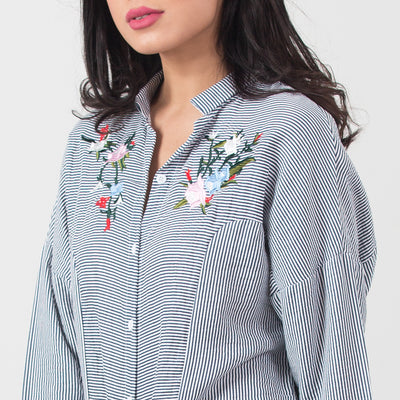 Embroidered Collar Shirt , VANILLA TOP