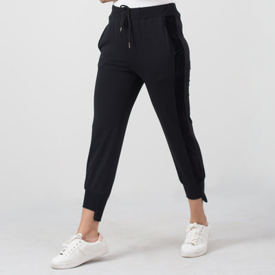 Suede Panel Active Track Pants , VANILLA TOP