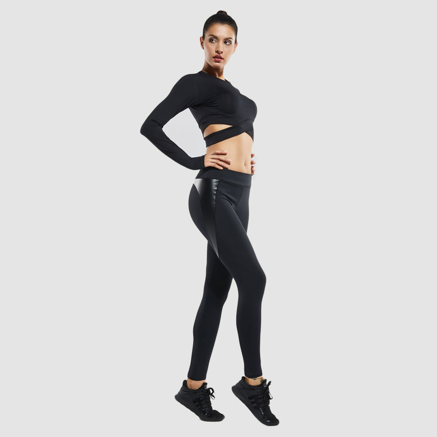 Leather Mesh Sport Leggings , VANILLA TOP