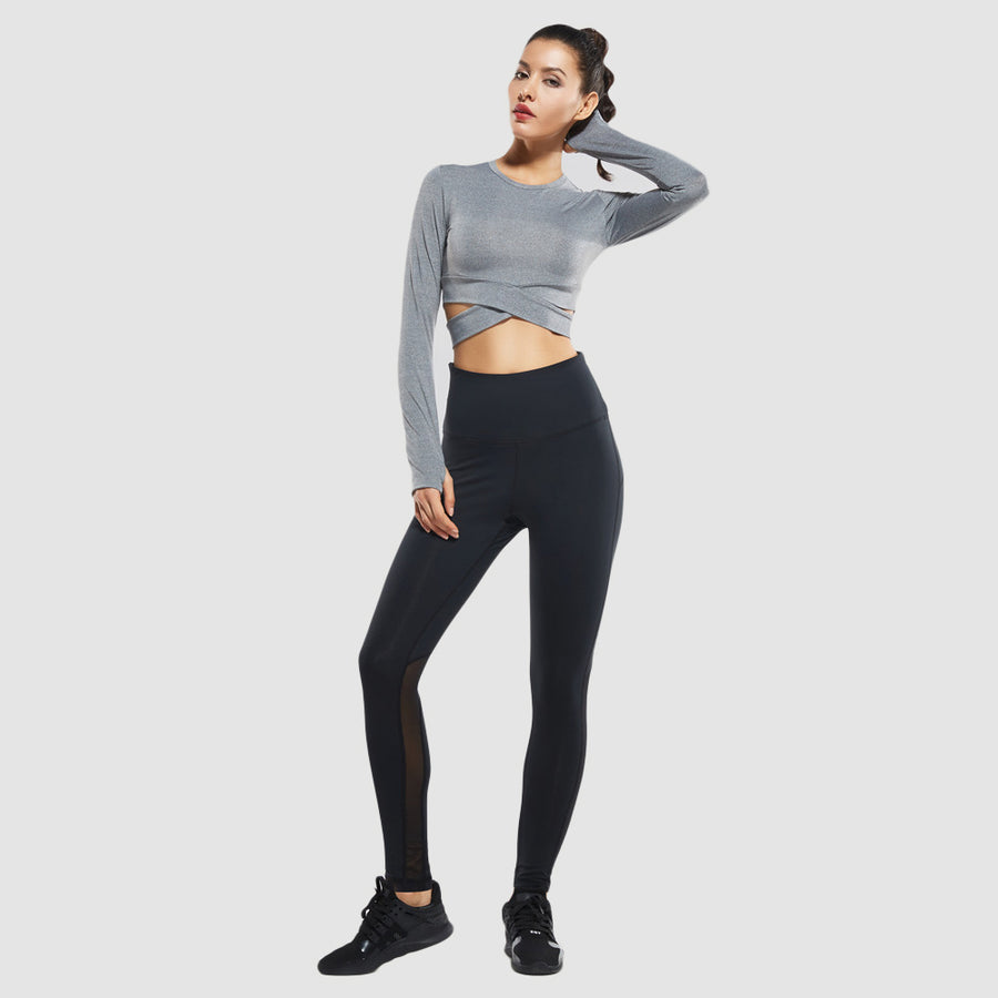 Waisted Cross Band Sport Leggings