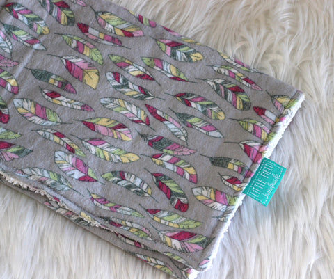 Boho feathers burp cloth