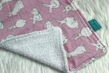 Pink bunnies burp cloth