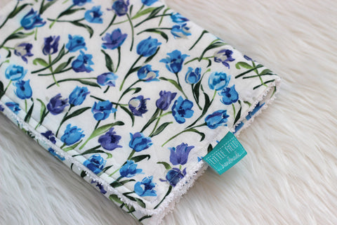 Blue & purple floral burp cloth