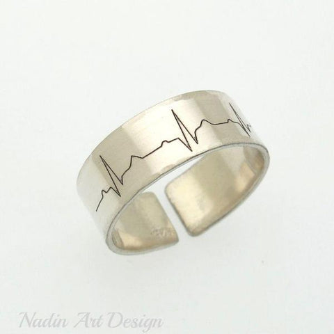 heart beat ring - sterling silver band