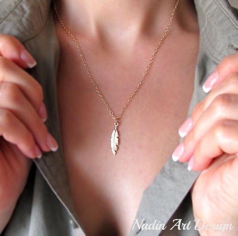 Feather Pendant Layer Necklace - Gold Filled Drop Feather Necklace