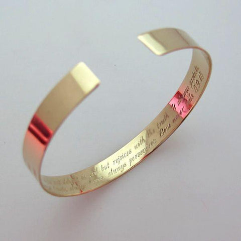 Secret Message Bracelet - Engraved Gold Cuff - hidden message bracelet