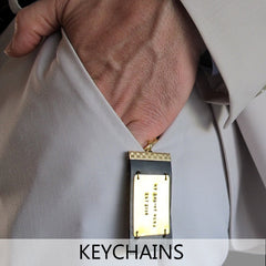 mens keychains - custom engraved leather keychains