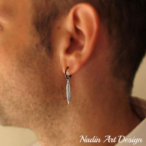 mens earring - feather earring for men - mens dangle earrings