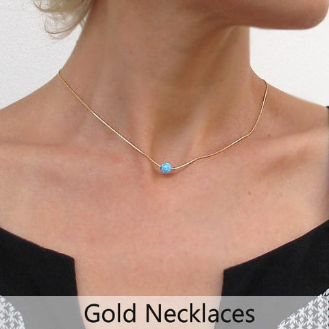 Minimalist Necklaces for here - Gold Opal Pendant - Gold Chokers for women