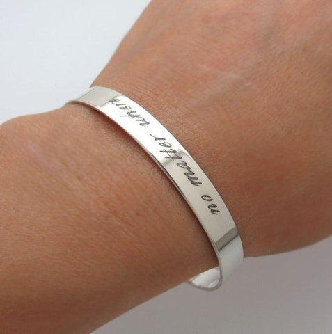 Personalized Silver cuff Gift for wife