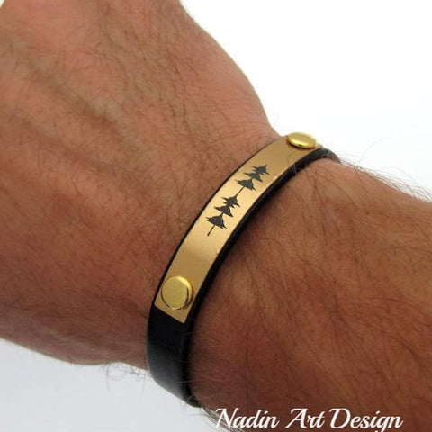 Gold sound wave bracelet for men -Best Anniversary Gift for Husband